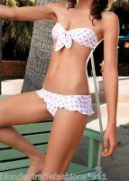 Pink Heart Bandeau Bikini Skirted Hipster Swim Suit Swimwear 2 Piece Set S/M/L