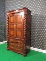 Large Jacobean TUDOR Armoire wardrobe Mansion Twist solid mahogany 100% wood