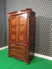 Large Jacobean TUDOR Armoire wardrobe Mansion Twist solid mahogany 100% wood