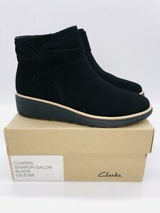 Clarks Collection Women's Sharon Salon Suede Bow Ankle Boots Black US 8.5M