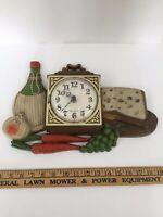 Vintage 1973 Burwood Products New Haven Kitchen Clockl #460-1 Wine Cheese Design