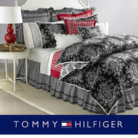 Tommy Hilfiger Winding Lane Duvet Cover Set Queen 3pc Black Ivory Paisley New