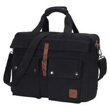 Large Men's Work Briefcase Canvas Messenger Bag Multi Pocket Attaché Laptop Bag