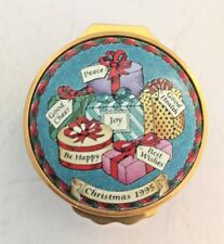 Halcyon Days Christmas 1995 Painted Enamel Box - 25th Anniversary