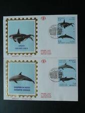 marine mammal dolphin whale killer x2 FDC Monaco 48612