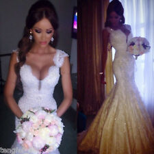 White Lace Mermaid Sexy V-neck Wedding Dress Bridal Gown dress 4 6 8 10 12 14 16