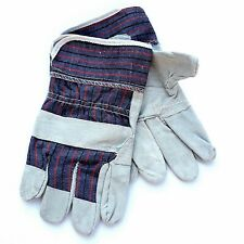 Strong Large Blue Cotton Grey Leather Suede Rigger Garden Gardening Gloves
