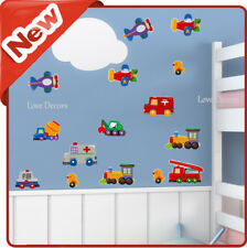 Cars Wall Stickers Airplane Animal Diggers Trucks Nursery Baby Bedroom Decal Art