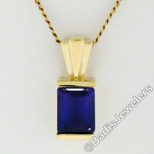 New 14K Yellow Gold 1.60ct Emerald Cut Channel Amethyst Solitaire Slide Pendant