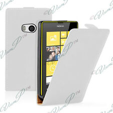 Accessoire Housse Coque Etui PU Véritable Rabattable Cuir BLANC Nokia Lumia 930