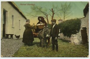 Market Morning in Ireland Vintage Irish Postcard D2
