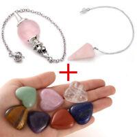Crystal Quartz Worry Meditation Healing Heart Chakra Pendulum Stone Set Bracelet