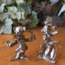 Pewter Like Metal Miniature Clown Lot of 2 NEW