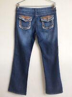 EUC FOREVER 21 Jeans Sz 15/16 Dark Wash Boot Cut Mid Rise Flap Back Pocket Pant