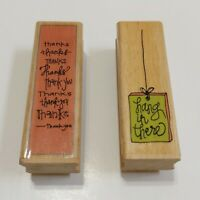 Studio G Kolette Hall Wood Rubber Stamp (2) Thanks, Hang in There