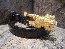 Kieselstein-Cord Art Bronze Toad Buckle with Black Alligator Belt
