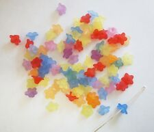 100 Acrylic Flower Beads - 10mm - Frosted - Mixed Colours