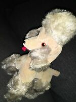 "8"" VINTAGE YOSKI  Poodle Dog STUFFED ANIMAL PLUSH TOY JAPAN Gray Brown Gorgeous"