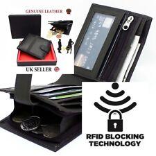 RFID seguro para Hombre de Diseñador Cartera de Cuero Real Con Gran Bolsillo Con Cremallera Moneda/Bolsa