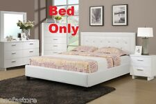 Modern 1 Piece Queen Size Bed Bedroom Furniture White Color Accent Tufting Home