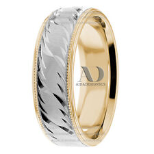 His & Her Hand Carved Milgrain Wedding Ring Solid 14K Gold Two Tone Wedding Band