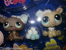Littlest Pet Shop 1000 Cream White Polar Bear 1001 Brown Bear Messiest New 4+