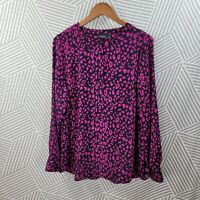 Apt 9 Plus Size 1X 16/18 Top Abstract Animal Leopard Print zip Henley career