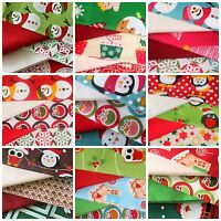 Christmas Fat Quarter Fabric Bundles 100% Cotton Choice of Designs Novelty Cute