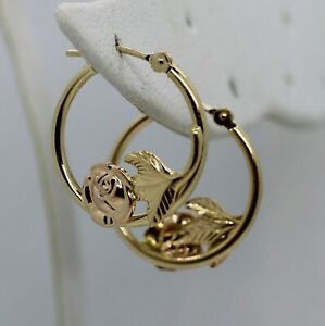 """Pretty 14K Yellow Gold 3/4"""" Hoop Earrings with Rose Gold Roses (1.03g)"""
