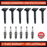 6x Genuine Iridium NGK Spark Plugs & 6x Ignition Coils for Toyota Kluger Lexus