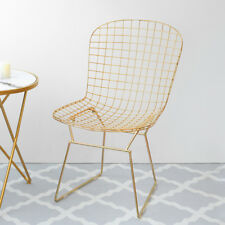Nordic Gold Mesh Frame Wide Side Backrest Lounge Seats Dresser Table Chairs Home