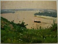 Russian Ukrainian Soviet Oil Painting realism landscape river Dnepr barge 1950s