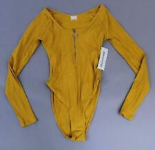 Urban Outfitters Women's Long Sleeve Half Zip Rib Bodysuit SH3 Yellow Small NWT