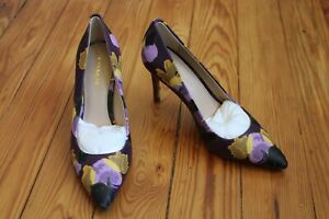 NWOB Coach 5 B Smith Purple Floral Pointed Toe Heels Pumps
