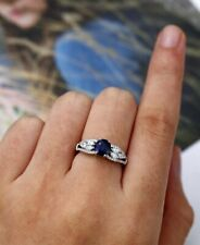 2ct Round Cut Blue Sapphire Engagement Ring 14k White Gold Over Accent Solitaire