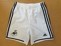 EE611 BOYS ADIDAS WHITE BLACK SWANSEA CITY AFC FOOTBALL SHORTS UK  Y L