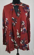 Free People women XS burgundy tree orchid swing lagenlook tunic long sleeve boho