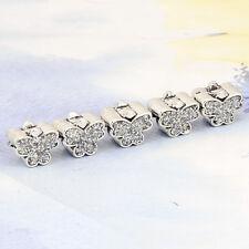 5pcs Tibetan Silver Filled Gray Butterfly Bead Fit European Charm Bracelets