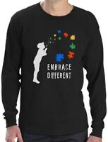 Embrace Different - Autism Awareness Long Sleeve T-Shirt Support The Cause