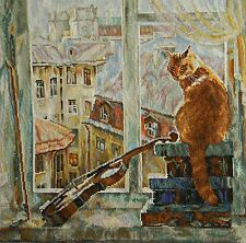 Counted Cross Stitch Kit MORNING MELODY Cat AT HOME GUITAR
