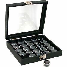 25 Gem Jars Black Display Tray Glass Lid Travel Case