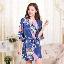 af847cc674 Fashion Peacock Women Bridal Bridesmaid Kimono Robe Satin Night Dress Gown  Blue XLarge