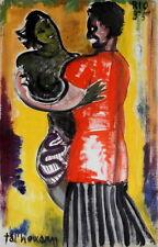 Huile/papier TAL'HOUARN Couple de danseurs RIO 1955 ** 51  x  33 cms