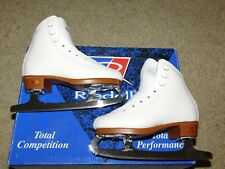 NEW OLD STOCK RIEDELL F21 FIGURE SKATES CHILDS SZ 10 1/2 WHITE sapphire blades