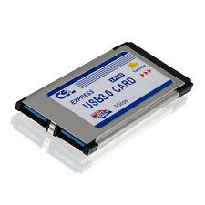 PCMCIA Express Card Karte 34mm 2 Port USB3.0 Win7 kompatibel für Notebook Laptop