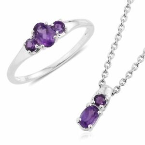 African AMETHYST RING (6) + Pendant NECKLACE Jewelry Set in Plat / Sterling Silv
