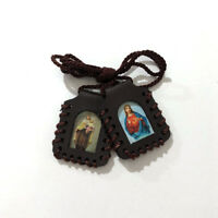 Sacred Heart of Jesus Christ and Our of Lady Mt C Leather Scapular (LSWCARD-BRN)