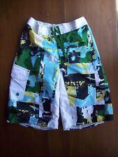 EUC Old Navy Kids Boys Swim Trunks Swimsuit Board Shorts XL White Blue Yllw Grn
