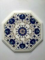 "12"" Marble Corner Coffee Table Top Marquetry Floral Lapis Inlay Art Decor"
