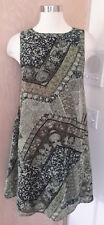 GNW Sleeveless Sage Olive Green Floral Print Layered Sheath Dress Size Small